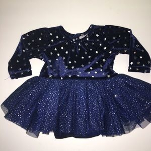 Girl's Blue Glitter Dress Children Place Size 0-3m